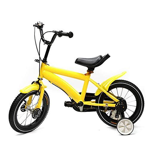 Wangkangyi 14 Zoll Kinderfahrrad Jungen Mädchen Mit Stützräder, Fahrrad für Kinder ab 3 Jahre 82cm x43cm x20cm (Gelb)