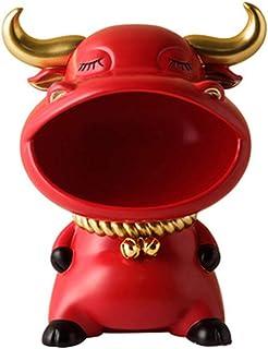 OSELLINE Boîte de Rangement clé créative décoration de Vache résine Artisanat Bureau Bureau bétail Ornement Rouge