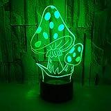 Lámpara de ilusión 3D Luz de noche LED Casa de setas de acrílico de dibujos animados 7 colores Cambio de lámpara de mesa táctil Usb Bebé para dormir Regalo de Navidad para niños