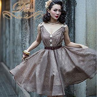 ワンピース ミディアムドレス リネン素材 Vネック チャック柄風 フロントボタン フレアドレス ブラウン (XS)