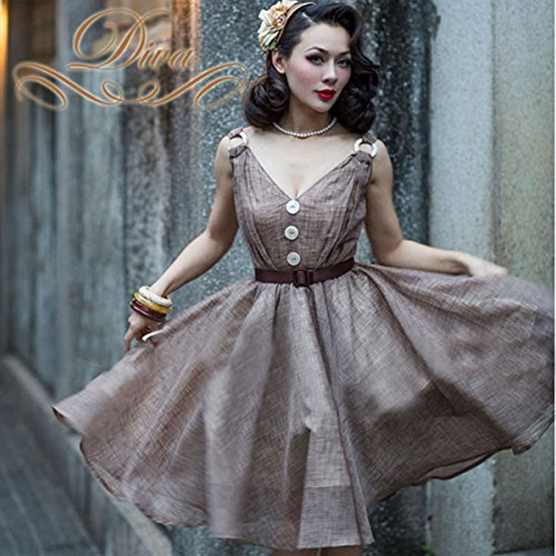 ワンピース ミディアムドレス リネン素材 Vネック チャック柄風 フロントボタン フレアドレス ブラウン (L)