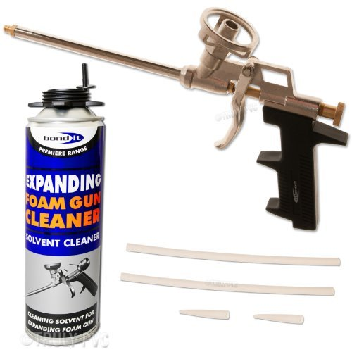Professional Expanding Foam Gun Applicator & 500ml Solvent Cleaning Can