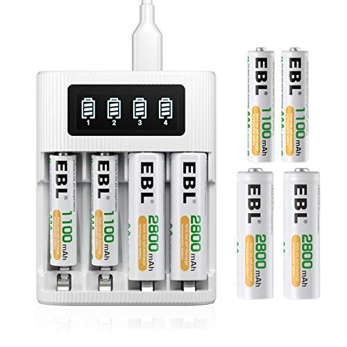 EBL LCD Battery Charger with Batteries - AA Rechargeable Battery (4 Counts) and AAA Batteries (4 Counts)