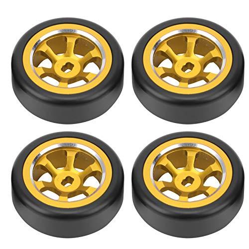 Demeras 4 Piezas RC Drift Neumático RC Neumático Trasero RC Neumático de Goma Rueda de Repuesto Piezas de modificación para Mini-Z Mini-D Mini-Q RC Car(Oro Y)