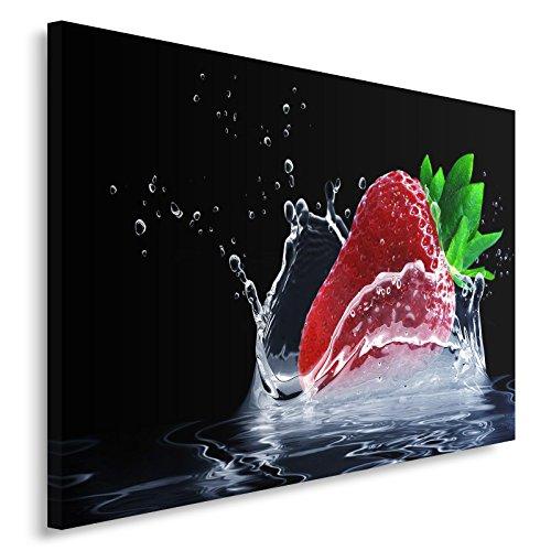 Feeby. Tableau Déco - 1 Partie - 40x50 cm, Impression sur Toile Décoration Murale Image Imprimée, Fraise, Cuisine, Rouge, Noir