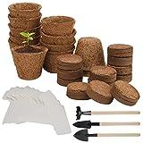 Herefun 39 Pezzi Set di Vasi da Coltivazione, Vasi per Semi Biodegradabili, Set Coltivazione per Fiori con Terreno in Pellet di Cocco, Tag di Piante, Kit Coltivazione Vaso per Piantine e Trapianti