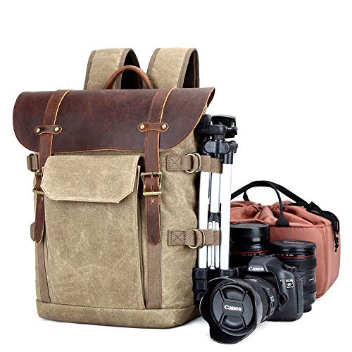 MxZas Large DSLR Camera Gadget Bag Multifunctional SLR Camera Bag Large Capacity Multi-lens Travel Camera Waterproof Digital Backpack (Color : Khaki, Size : 30x18x40cm)