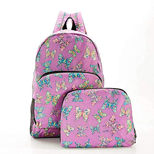 ECO CHIC Foldaway Back Pack/School Bag/Shopping Bag - Made From Recycled Plastic Bottles - New Butterfly (Lilac)