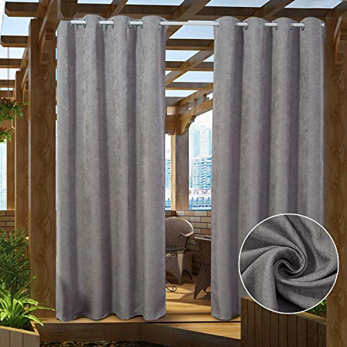 PRAVIVE Light Grey Blackout Outdoor Curtains - Indoor / Outdoor Curtain Drapes for Patio Privacy / Gazebo Pergola / Front Porch, 52 Inches Wide by 84 Inches Long, 1 Panel