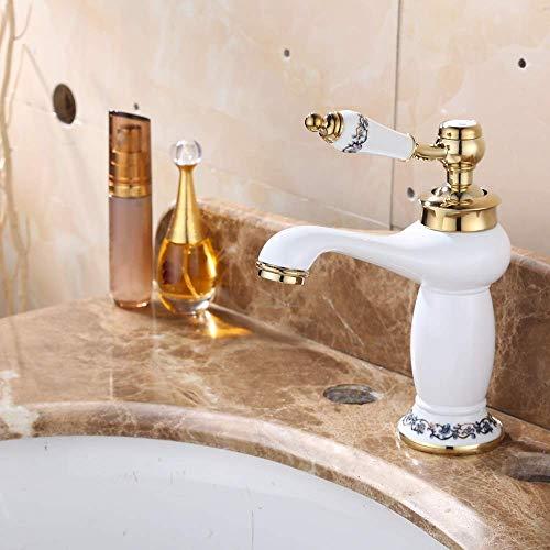 ZUQIEE Tap Todos los de gama alta de cobre pintura blanca caliente y fría bajo Contador grifo del lavabo del cuarto de baño Negro Sobre contador cuenca del lavabo Grifo Grifo Bastante