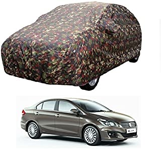 MotRoX Car Body Cover for Maruti Suzuki Ciaz with Side Mirror Pocket (Military Color)
