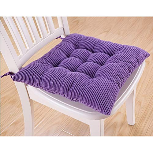 QingH yy Chair Cushions Thicken Breathable and Soft Square Corduroy Cushion with Ties Kitchen Non Slip Dining Chair Pad Office Seat Cushion 9-16 (Color : Purple, Size : Small)