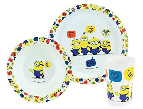 FUN HOUSE 005724 LES Minions Ensemble Repas composé d'une Assiette, d'un Bol et d'un Verre pour Enfant