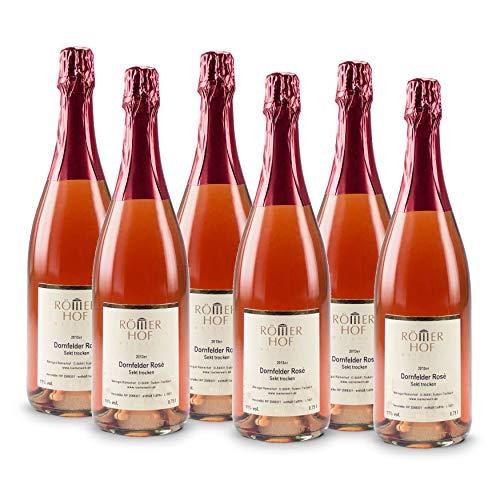 WEINGUT RÖMERHOF 6 Flaschen 0,75 L Dornfelder Rosé Sekt 2013 Trocken, frisch degorgiert, traditionelle Flaschengärung, handgerüttelt, Premium Sekt, prämiertes Mosel Familienweingut