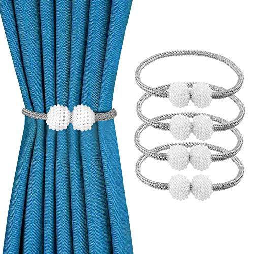 4 Pack Magnetic Curtain Tiebacks Pearl Ball Home Curtain Buckle The Most Convenien Tie Backs, Weave Curtain tiebacks Clips Rope Straps Holder for Big,Wide or Thick Drapries (Grey)