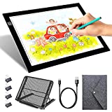 LED Light Box, Dimmable A4 Tracing Copy Board Light Pad with 4 Fasten Clips, Metal Stand and Felt Bag, USB Powered Drawing Light Table Board for Artist Drawing, Sketching, Animation, Diamond Painting