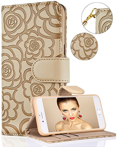 iPhone 7/iPhone 8/iPhone SE 2020 Wallet Case,FLYEE Flip Wallet Leather (kickstand) [Emboss Flower] Magnetic Protective Cover with Card Slots and Detachable Wrist Strap for iPhone 7/8/SE 4.7 Inch Beige