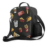 NE Pranzo al sacco premium, sacchetto per pranzo isolato con patatine fritte per uomo, donna, adulto, pranzo al sacco da spiaggia, picnic, lavoro d'ufficio