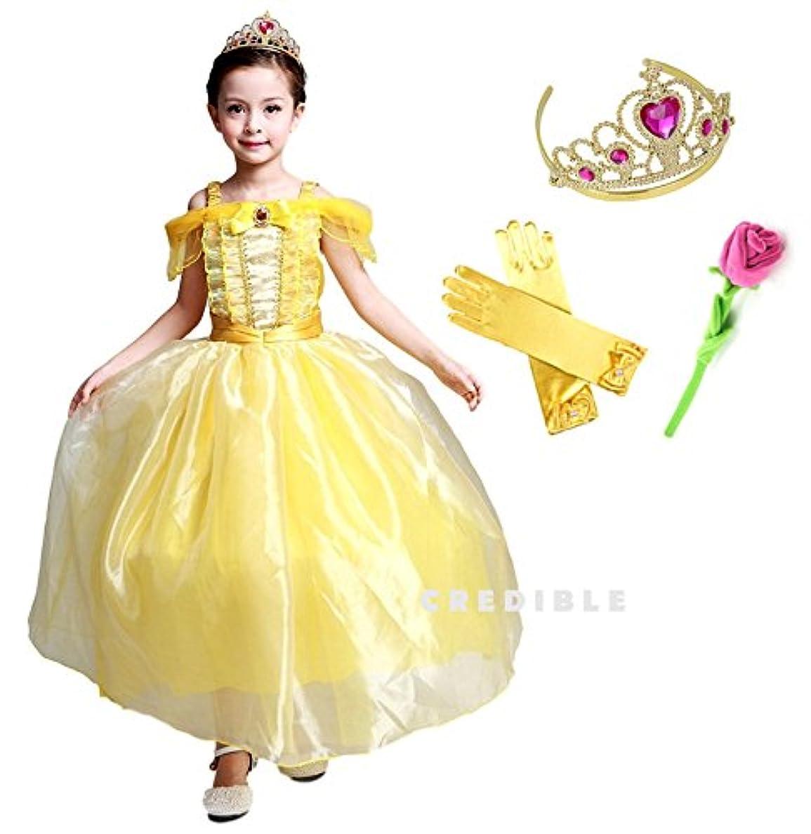 劇作家小さいお酢CREDIBLE 子供 用 プリンセス ドレス コスチューム 豪華5点セット ? イエロー ( プリンセスドレス , ハートのティアラ , リボン付きグローブ , 薔薇のお花 , CREDIBLEオリジナルグッズ ) 120cm NT5002