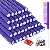 (3 in 1) 40 Pieces Flexible Curling Rods Foam Curlers +4pcs Hair Clips Steel Pintail Comb, No Heat Hair Curlers Twist Hair Rods Magic Hair Curlers No Heat for Long Hair 9.45' x 0.55' (Purple)
