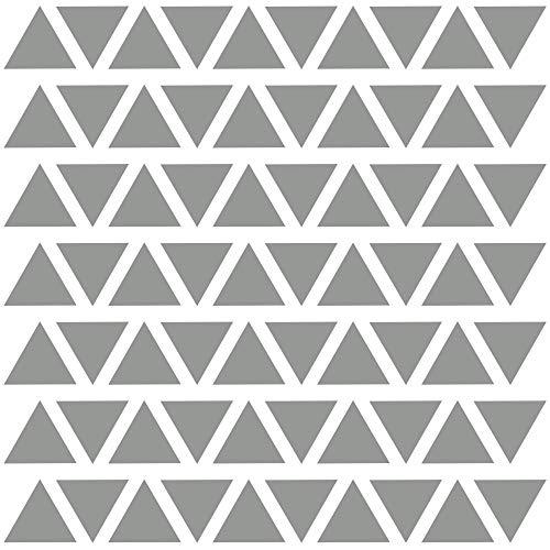 PREMYO 70 Triángulos Pegatinas Pared Infantil - Vinilos Decorativos Habitación Bebé Niños - Fácil de Poner Gris