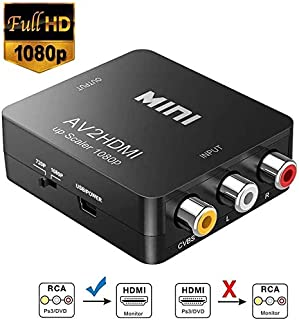 RCA a HDMI Neefeaer 1080P Mini RCA Composite CVBS AV a HDMI Video Audio Converter para soportar PAL/NTSC con Cable de Carga USB para PC Laptop Xbox PS4 TV VHS VCR DVD Cámara Proyector
