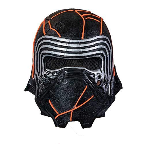 DealTrade Kylo Maske Erwachsene Latex Voller Kopf Helm LED Film SW Cosplay Kostüm Männer Schwarz Headwear Halloween Kostüm Merchandise Zubehör