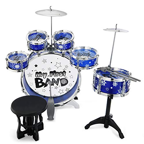 Reditmo Kids Jazz Drum Set, 6 Drums, 2 Cymbals, Chair, Kick Pedal, 2 Drumsticks, Stool, Early Education Musical Instrument to Develop Children's Creativity, Blue