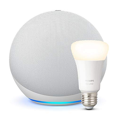 Echo (4.ª generación), Blanco + Philips Hue White Bombilla LED E27