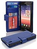 Cadorabo Hülle für Huawei P7 in Neptun BLAU – Handyhülle mit Magnetverschluss & 3 Kartenfächern – Hülle Cover Schutzhülle Etui Tasche Book Klapp Style