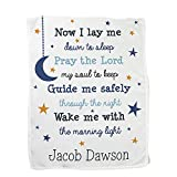 GiftsForYouNow Now I Lay Me Personalized Fleece Baby Blanket, Kids Blanket, Space Theme Blanket, Stars Poem, Personalized with Any Name, Custom Text, Blue and Yellow Design, 30' x 40'