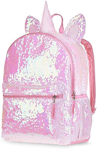 2 Way Sequin Unicorn Backpack for Girls Teens ~ Premium 16' Unicorn School Bag with Reversible Sequins and 3D Ears and Horn (Unicorn School Supplies Bundle)