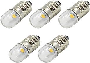 Ruiandsion 5 stks 6 V E10 Base Socket LED Lamp 1 W Warm Wit Vervangen Torch Koplamp Mini Hoofd Lamp Zaklamp Lampen, Negati...