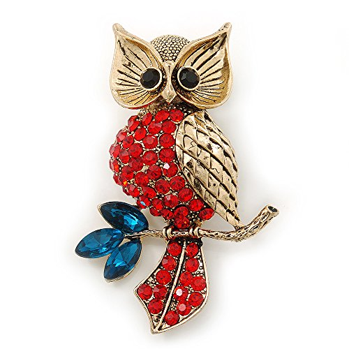 Avalaya Hootin Red/Teal Crystal Owl Brooch in Antique Gold Metal - 58mm Length