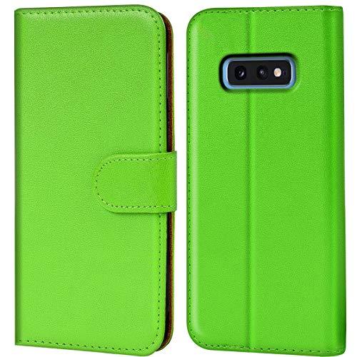 Verco Galaxy S10e Hülle, Handyhülle für Samsung Galaxy S10e Tasche PU Leder Flip Hülle Brieftasche für S10 Lite [ G970-8,5 Zoll ] - Grün