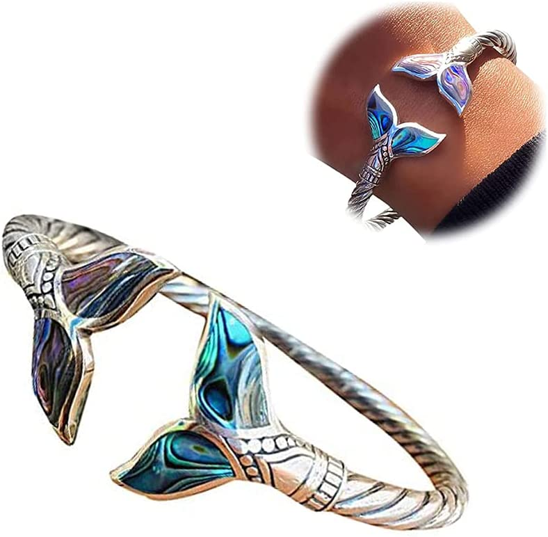 KCRPM Abalone Shell and Mermaid Tail Bangle Bracelet, Mermaid Tail Cuff Bracelet?Adjustable Open Hand Chain for Women, Marine Style Jewelry Valentines Day Gift (1 Pcs)