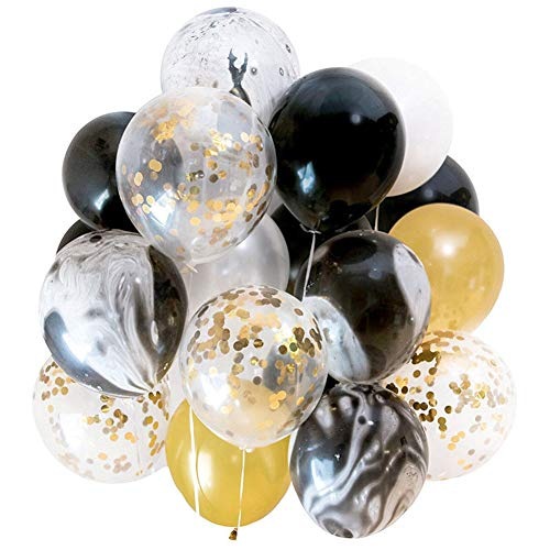 Confetti Balloons 40 Pack, Black Gold Agate 12 Inches Party Balloons with Golden Paper Confetti Dots DIY Set for Party, Wedding, Birthday Decoration
