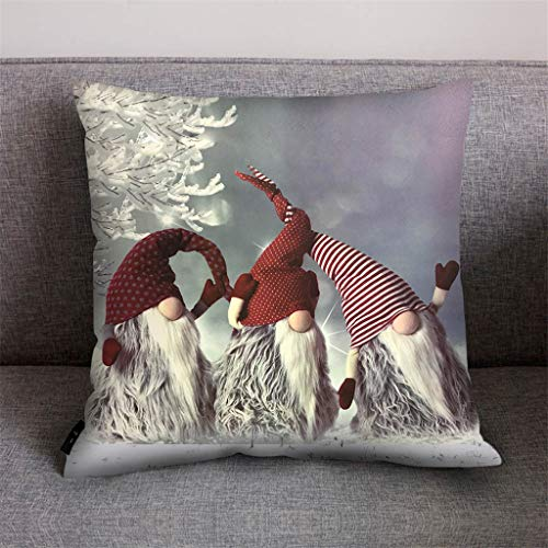 Shan-S Set of 2 Merry Christmas Pillowcase,Lighthouse Snow Santa Claus Gnome 3D Printed Pattern Throw Pillow Case Cushion Cover for Sofa Car Polyester Square Cushion Cover Home Decor 18x18Inch