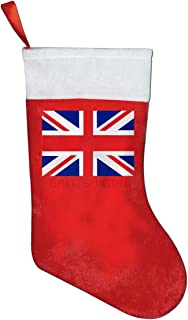 A19SDW Christmas Stockings British Girl Union Jack Design Interesting Christmas Stocking 16.5 in Red and White Felt,for Family Holiday Xmas Halloween Party Decorations,for Kids,Teens,Adults