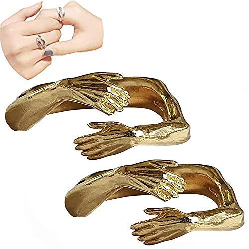 Amor abrazo anillo anillo abierto, amor abrazo anillo banda dedo abierto, dame un abrazo cálido amor anillo abierto ajustable para mujeres niñas, moda abrazo anillo abierto pareja anillo 2pcs Gold