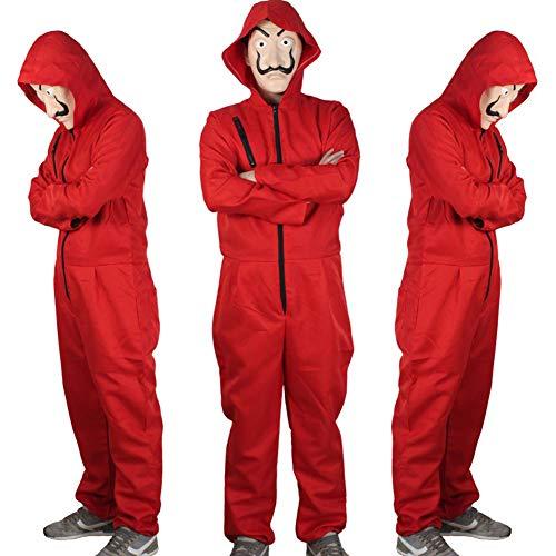 Costumi per Adulti Moda House of Money la Casa di Carta Costume Tuta Rossa Rapinatore Cosplay Jumpsuit Carnevale Halloween Feste a Tema Papel Casa Playsuit Senza Maschera (Red, Large)
