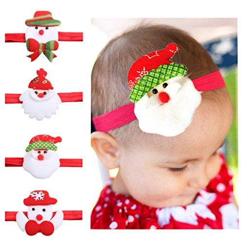 MUUZONING 4 PCS Bebe Navidad Lindo Banda de pelo,0-4 años de edad Niños Niñas Diadema Turbante Cintas para El...