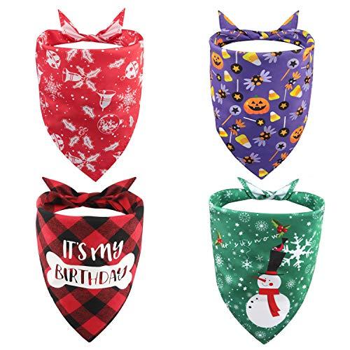 Pañuelo para Perro, Cuatro pañuelos para Perro a Granel para Navidad, Cumpleaños y Halloween, Triangular Suave Bandana Ajustable para Mascotas, Elementos de Vacaciones con Estampado de celosía