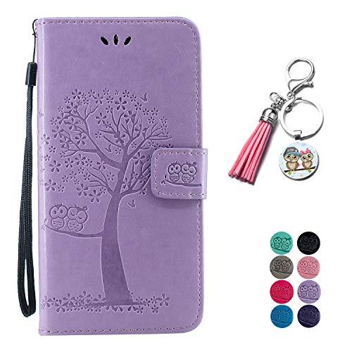 LA-Otter Kompatibel für Samsung Galaxy J6 2018 Hülle Leder Lila Tasche Handyhüllen mit Kartenfach Schutzhülle Flip Hülle - Eule & Baum