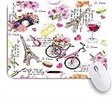 SUHOM Gaming Mouse Pad Rutschfeste Gummibasis,Paris Eiffelturm Blumen Fahrrad Wein Französisch Ich liebe dich in verschiedenen Sprachen,für Computer Laptop Office Desk,240 x 200mm