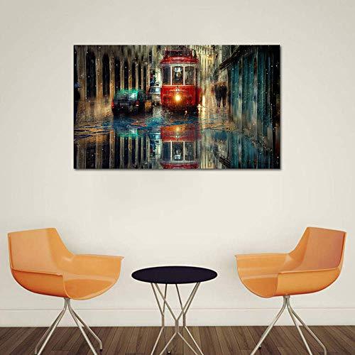 KSTORE Canvas Inkjet Art Schilderij Bus in de regen Mooie Street View Print Schilderen Moderne Woonkamer Slaapkamer Home Muurdecoratie