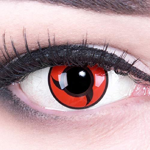 Meralens 1 Paar Farbige Anime Sharingan Kontaktlinsen Itachi Naruto rot schwarz perfekt zu Manga Hereos of Cosplay Halloween mit gratis Kontaktlinsenbehälter rote 12 Monatslinsen ohne Stärke