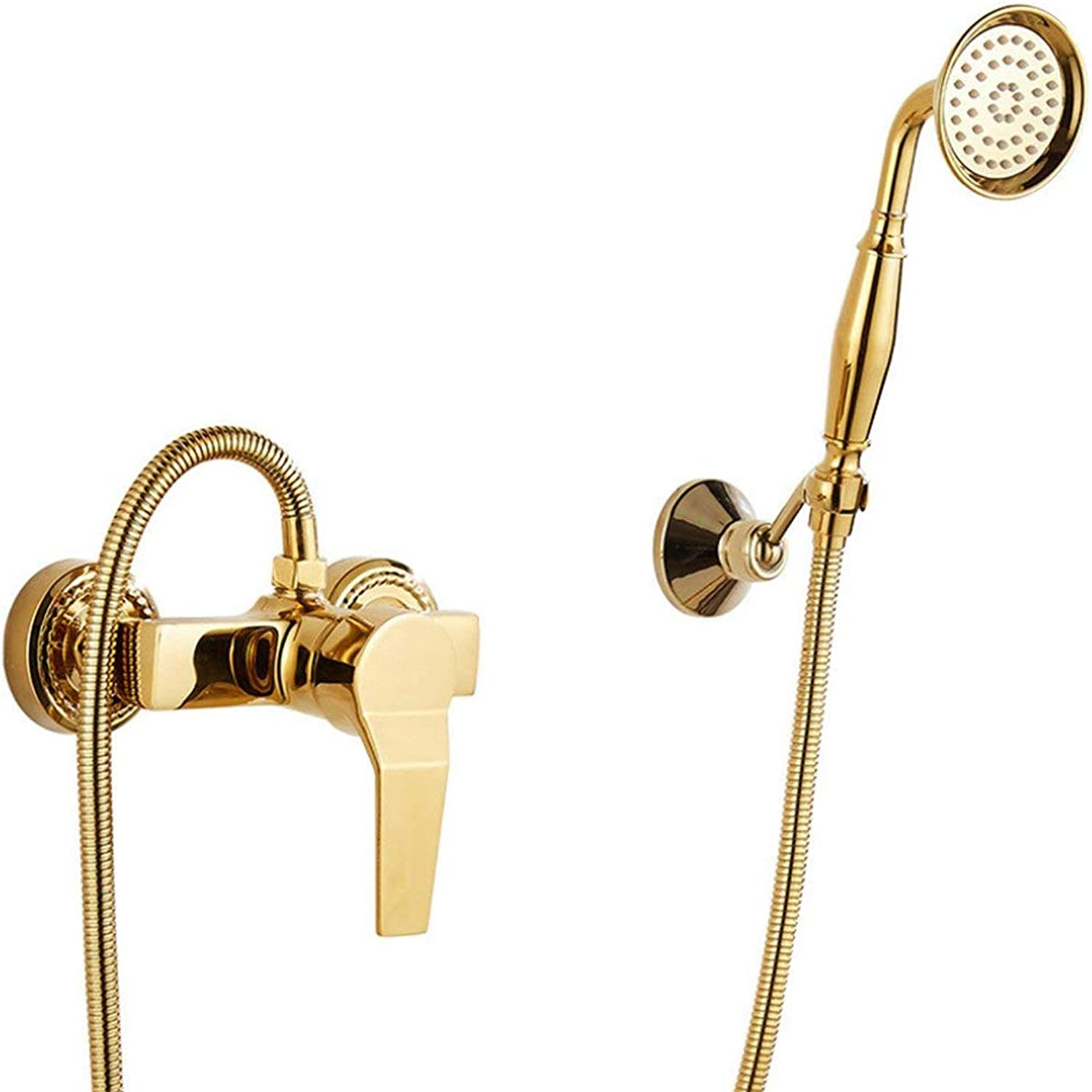 Shower set European gold, Simple Wall Bathroom Shower System With Handheld Shower,Antique Copper XXBB