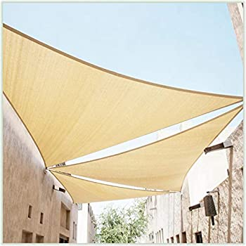 ColourTree 20  x 20  x 20  Beige Sun Shade Sail Triangle Canopy – UV Resistant Heavy Duty Commercial Grade Outdoor Patio Carport  Custom Size Available
