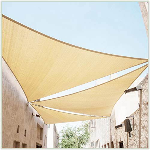ColourTree 24' x 24' x 24' Beige Triangle Sun Shade Sail Canopy Awning Shelter Fabric Cloth Screen - UV Block UV Resistant Heavy Duty Commercial Grade - Outdoor Patio Carport - (We Make Custom Size)